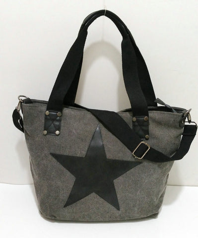 Carolina - Grey - Vintage Style Canvas Tote Bag