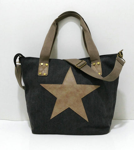 Carolina - Black - Vintage Style Canvas Tote Bag