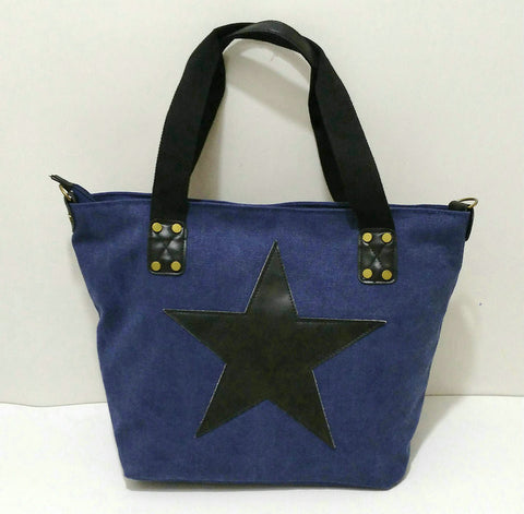 Carolina - Blue - Vintage Style Canvas Tote Bag
