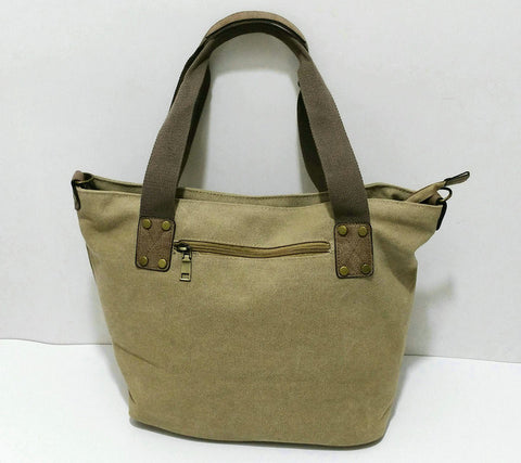 Carolina - Khaki - Vintage Style Canvas Tote Bag