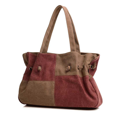 Madeline - Red And Brown - Large Drawstring Canvas Bag