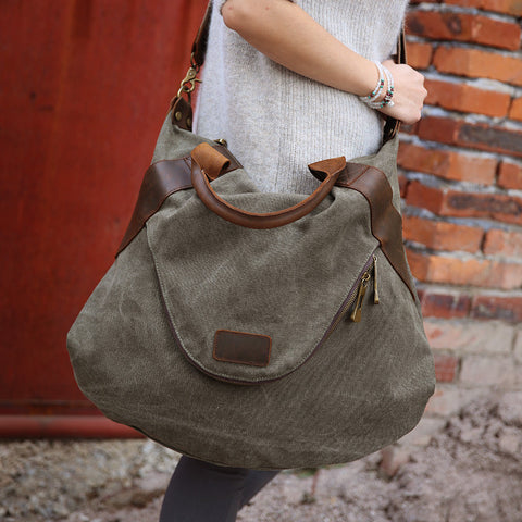 Elissa - Green - Canvas Tote Bag