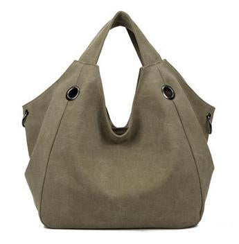 Larissa - Khaki - Casual Canvas Hobo Bag
