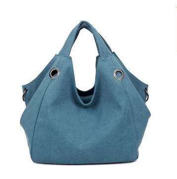 Larissa - Blue - Casual Canvas Hobo Bag
