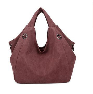 Larissa - Claret Red - Casual Canvas Hobo Bag