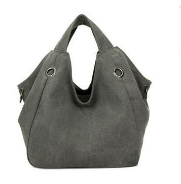 Larissa - Grey - Casual Canvas Hobo Bag