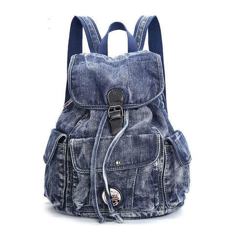 Lily - Blue - Vintage Washed Denim Backpack