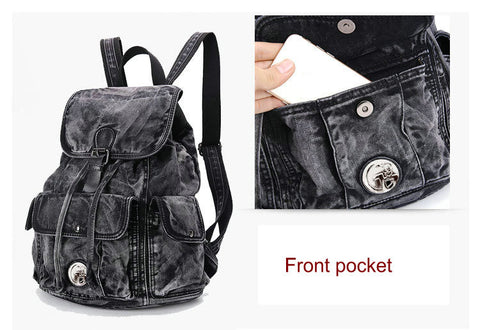 Lily - Black - Vintage Washed Denim Backpack