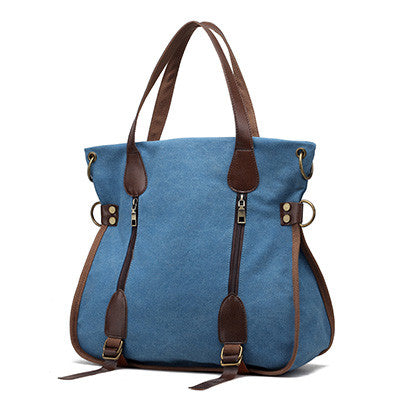 Kelly - Blue - Canvas Casual Tote Bag