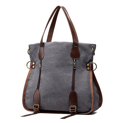 Kelly - Burgundy - Canvas Casual Tote Bag