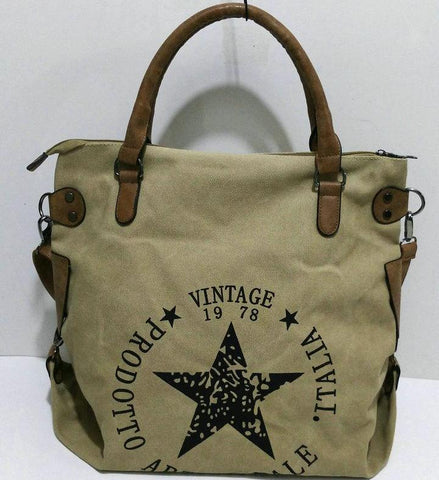 Camille - Khaki -  Canvas Tote Bag