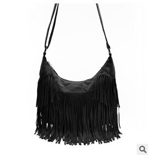 Tarla - Black - Shoulder Tassel Bag