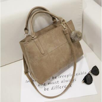 Camille - Khaki - Bicast Leather Tote Bag