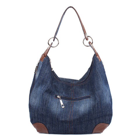 Danielle - Blue - Washed Denim Hobo Bag