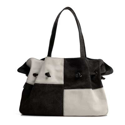 Madeline - Black And White - Large Drawstring Canvas Bag