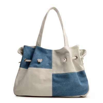 Madeline - Blue And White - Large Drawstring Canvas Bag