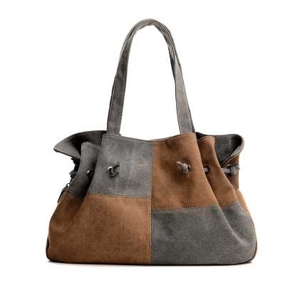 Madeline - Grey And Brown - Large Drawstring Canvas Bag