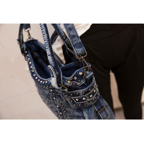 Kiara - Blue - Large Washed Denim Shoulder Bags