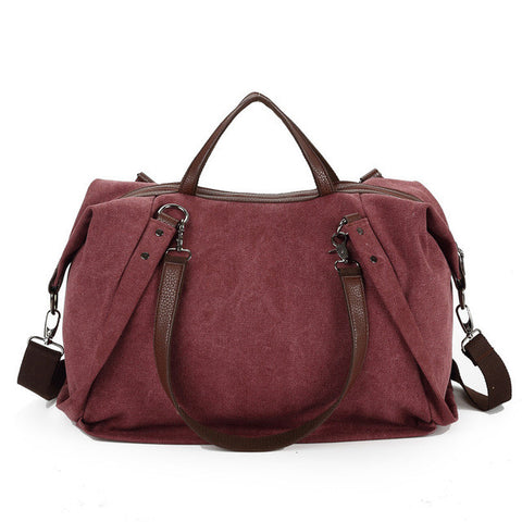 Danielle - Wine Red - Large Canvas Bag