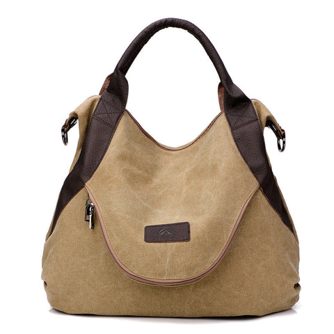 Alison - Khaki - Casual Canvas Tote Bag