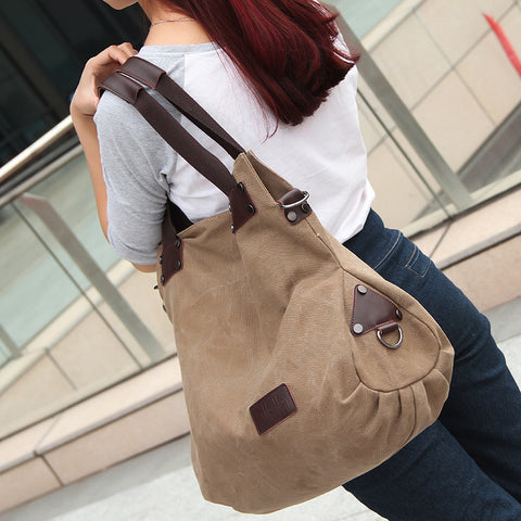 Dana - Brown - Vintage Large Canvas Shoulder Bag