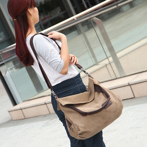 Dana - Grey - Vintage Large Canvas Shoulder Bag