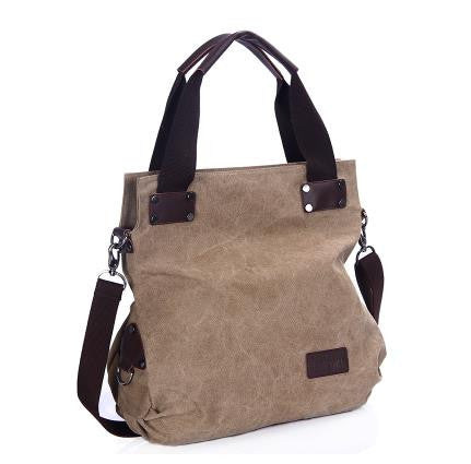 Dana - Khaki - Vintage Large Canvas Shoulder Bag