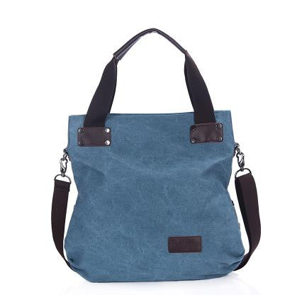 Dana - Blue - Vintage Large Canvas Shoulder Bag