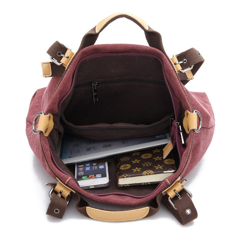 Nina - Brown - Canvas Handbag