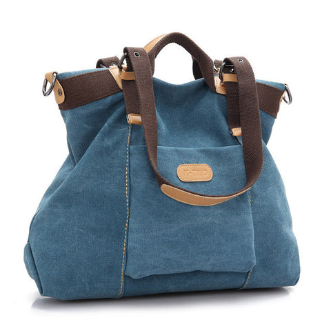 Nina - Blue - Canvas Handbag