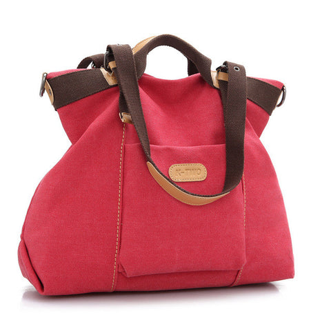 Nina - Red - Canvas Handbag