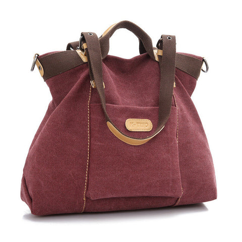 Nina - Burgundy - Canvas Handbag