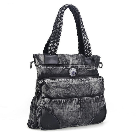 Melinda - Black - Washed Denim Handbag