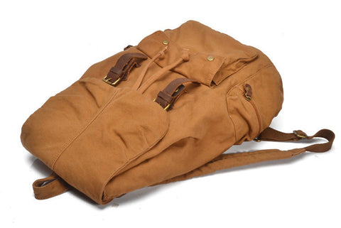 Salvador - Brown - Vintage Style Canvas Backpack