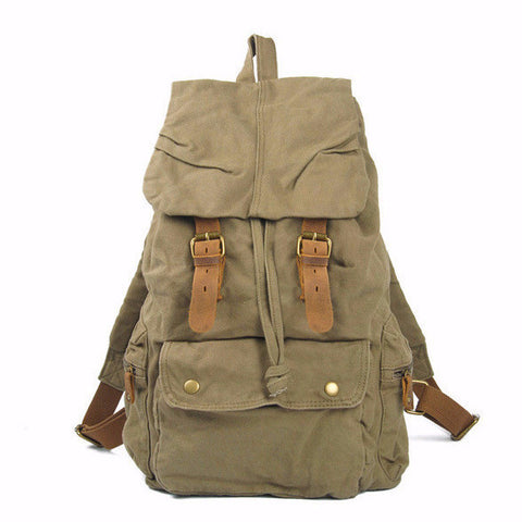 Salvador - Army Green - Vintage Style Canvas Backpack