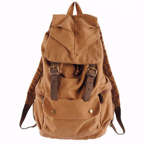 Salvador - Khaki - Vintage Style Canvas Backpack