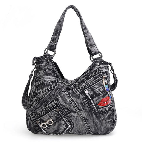 Madison - Black - Casual Vintage-style Denim Bag