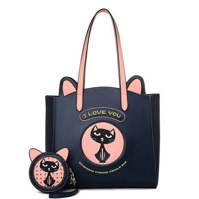 CatLover - Dark Blue - Tote Bag & Clutch