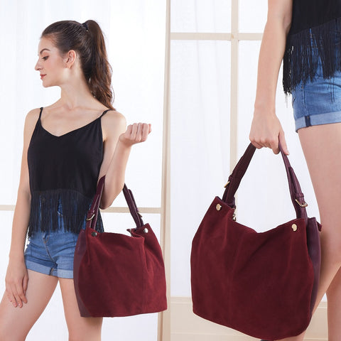 Isabella - Dark Purple -  Suede Leather Hobo Bag