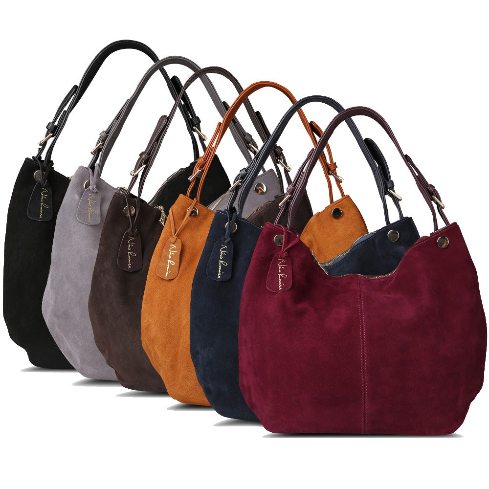 ... Isabella - Navy Blue - Suede Leather Hobo Bag ... 2c232f78b8db7