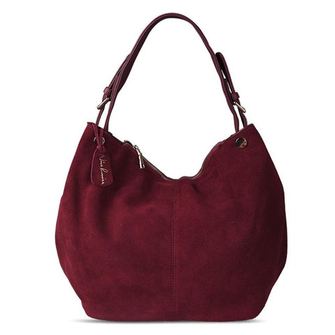 Isabella - Burgundy -  Suede Leather Hobo Bag