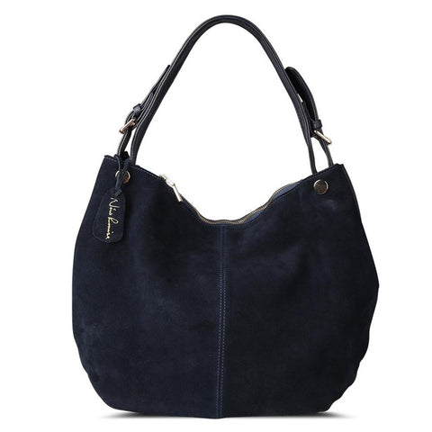 Isabella - Navy Blue -  Suede Leather Hobo Bag