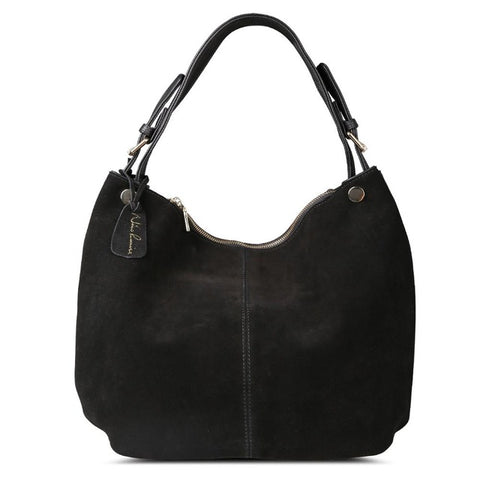 Isabella - Black -  Suede Leather Hobo Bag