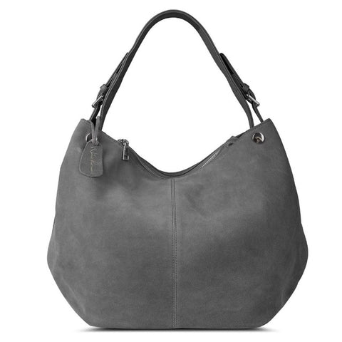 Isabella - Grey -  Suede Leather Hobo Bag
