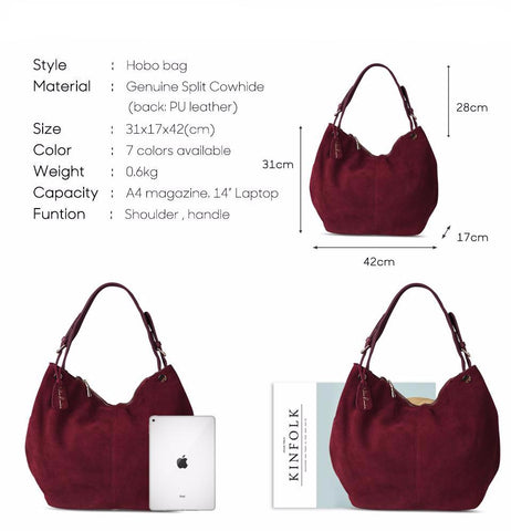 Isabella - Deep Coffee -  Suede Leather Hobo Bag