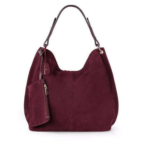 Stella - Burgundy - Split Suede/Leather Large Shoulder Bag