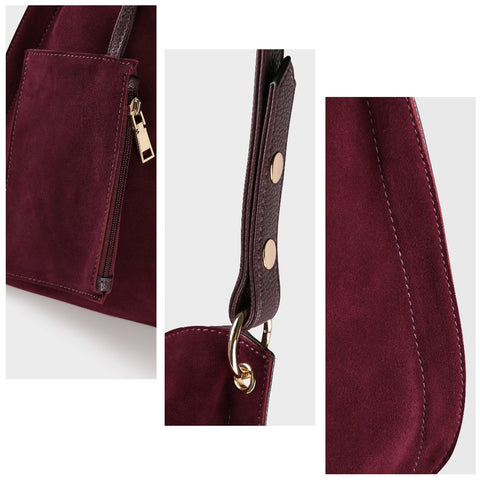 Stella - Cranberry - Suede Hobo Bag