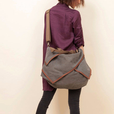 Maria - Grey - Large Canvas Shoulder Bag