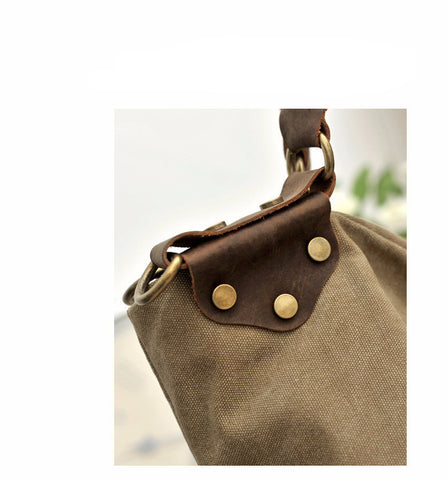 Everly - Khaki - Vintage Style Canvas Handbag
