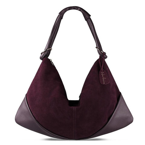 Carla - Dark Purple - Suede Leather Handbag
